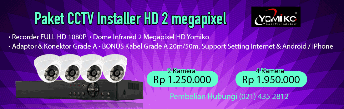 Paket CCTV Installer Yomiko 2 megapixel