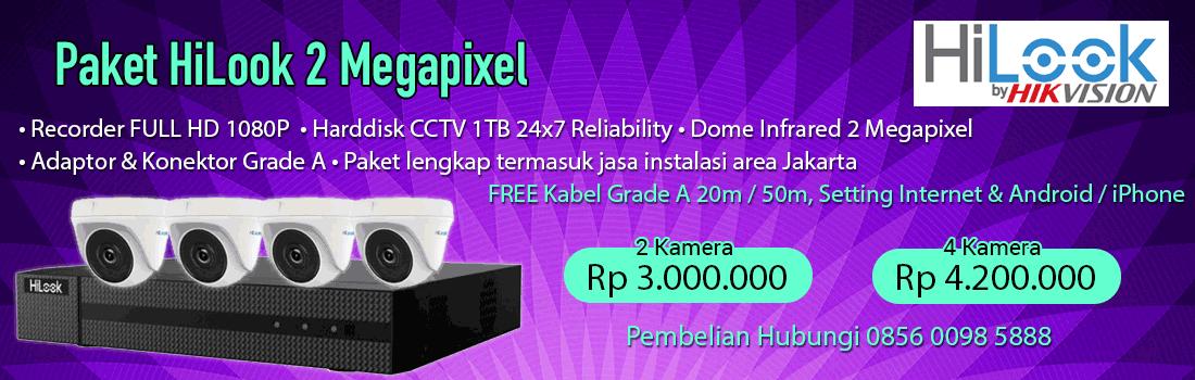 Paket CCTV HiLook 2MP Lengkap berikut dengan Instalasi di area Jakarta